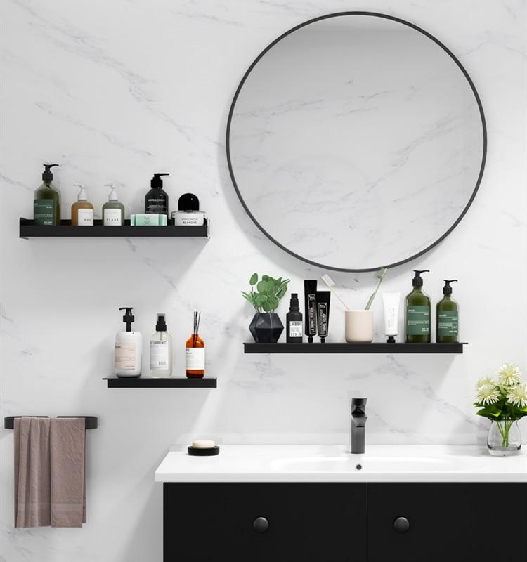 Black Bathroom Shower Shelf Multifunction Wall Mounted Bathroom Vanity Mirror Storage Rack Floating Shelf Bathroom Accessories Bathroom Shelves Aliexpress