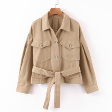 Stylish Chic Khaki Tie Belt Jackets Women Fashion Turn Down Collar Coats Elegant Ladies Pockets Outerrwear Casual Casaco(China)