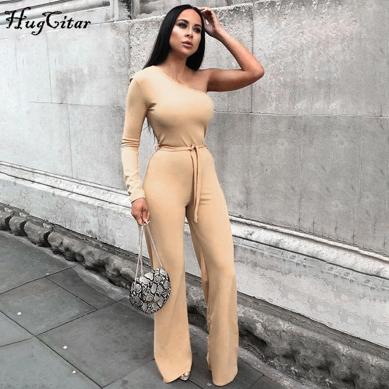 Hugcitar 2019 One-shoulder Long Sleeve Sexy Jumpsuit Autumn Winter Women Belt Pure Streetwear Outfits Body