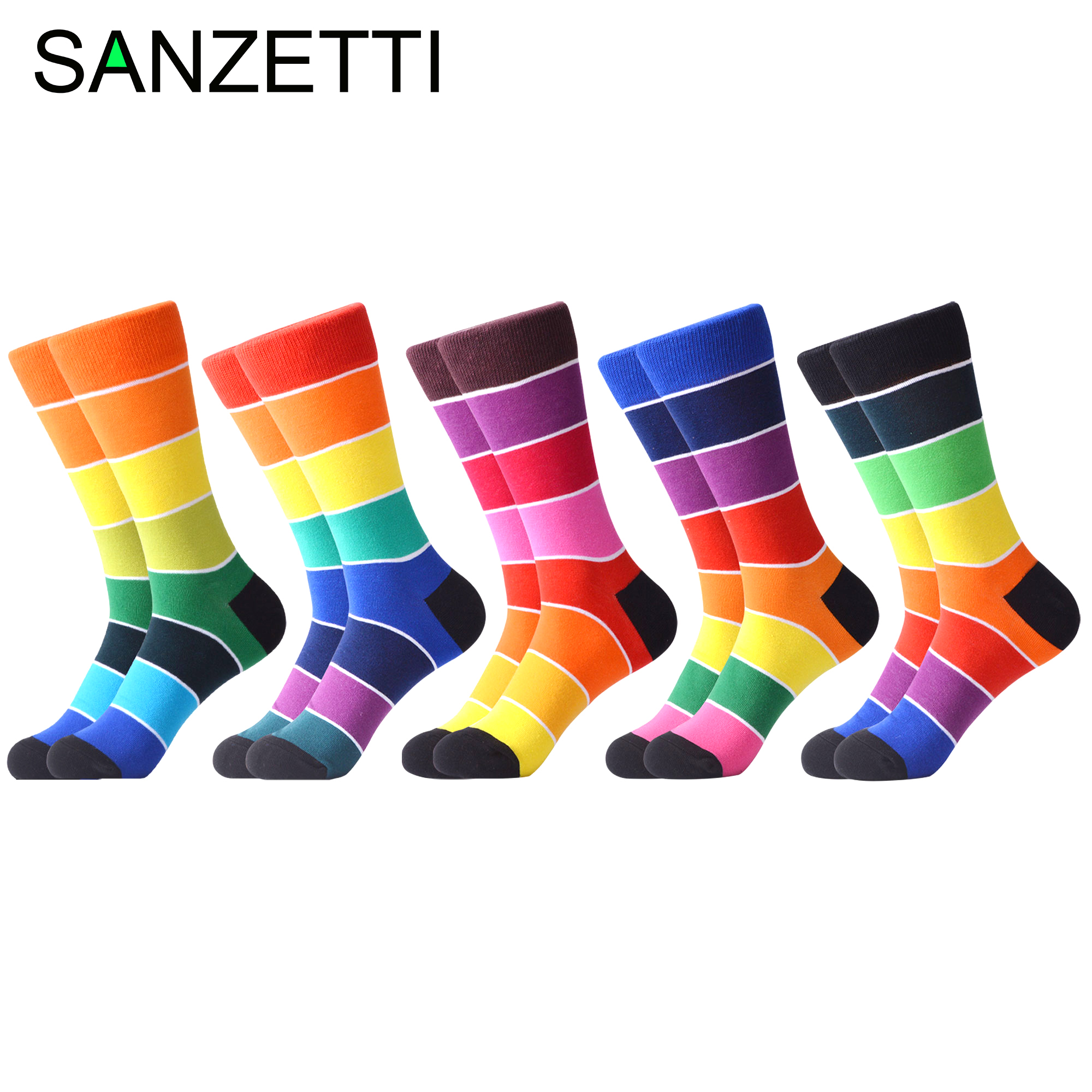 SANZETTI 1 Pair New Men's Casual Combed Cotton Colorful Rainbow Happy Socks Personality Funny Wedding Gifts Creative Dress Socks