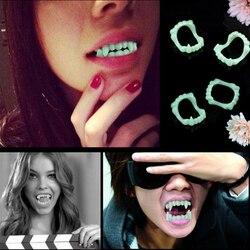 1/5/10pcs Vampire Fake Teeth Dentures Halloween Party Supplies Glow In The Dark Prop Masquerade Cosplay Luminous Dental Dentures