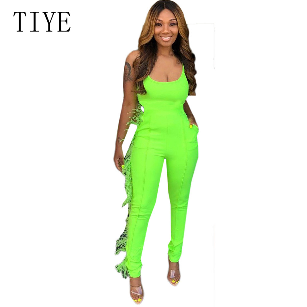 TIYE New Spaghetti Strap Summer Jumpsuits Sexy Sleeveless Tassel Pockets Bodycon Bandage Playsuits Women Overalls Streetwear