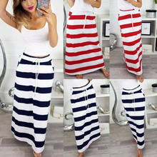 Autumn  Womens Fashion Stripe Hight Waist Maxi Long Skirt Polyester Lace-Up Ankle-Length with pants pocket Skirt