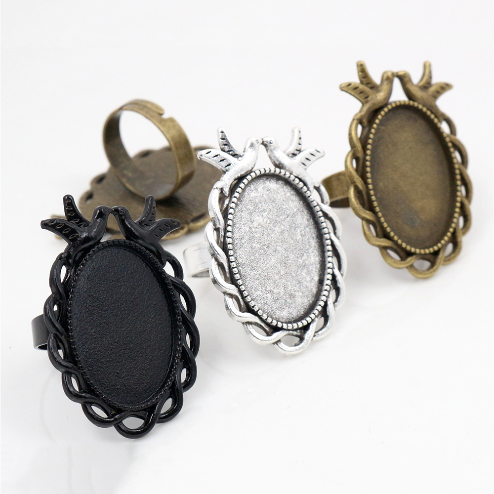 <font><b>18x25mm</b></font> 5pcs Antique Silver Plated & Bronze and Black Brass <font><b>Oval</b></font> Adjustable Ring Settings Blank/Base,Fit <font><b>18x25mm</b></font> Glass <font><b>Cabochons</b></font> image