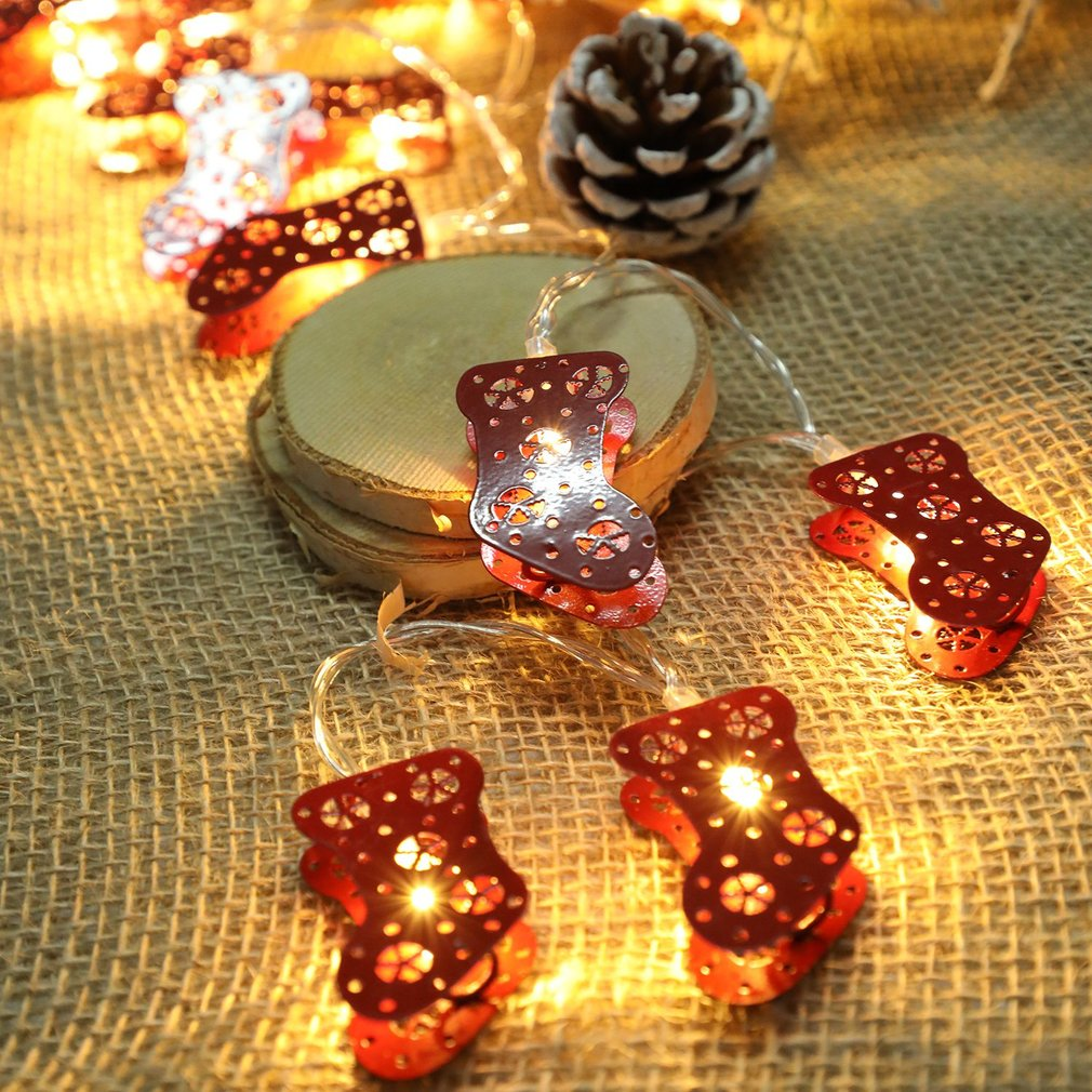Christmas Snowman Santa Claus Red Socks Style Fairy String Light Wall Window Garden Decoration Party DIY Flexible String Lamp