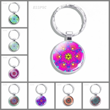 Fashion Mandala Pattern Glass Keychain Cabochon Keyring Buddhist Sacred Geometry Keyrings Art Jewelry Gift