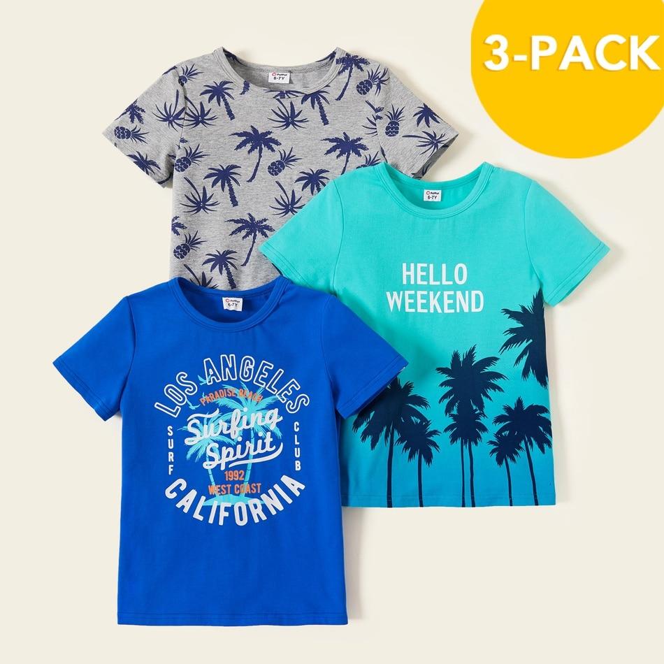 PatPat 2021 новый летний 3 чaсти дeтский кокосовое футболка с изображением деревьев комплект для 4 9Years одежда для маленьких мальчиков|Футболки| | АлиЭкспресс