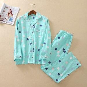 Image 2 - JULYS SONG kobieta bawełna drukowanie piżamy długie rękawy damskie spodnie piżamy zestaw dorywczo duży rozmiar miękki piżamy garnitur