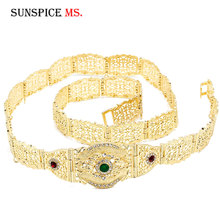 Sunspicems Fashion European Wedding Belt Body Chain for Women Gold Color Multicolor Crystal Waist Jewelry Adjustable Length