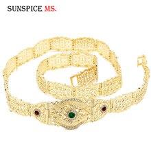 Sunspicems Fashion europejskie wesele łańcuszek na pasek dla kobiet złoty kolor Multicolor Crystal talia biżuteria regulowana długość