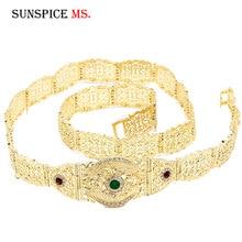 Sunspicems moda europeu cinto de casamento corrente do corpo para mulheres cor ouro multicolorido cristal cintura jóias comprimento ajustável