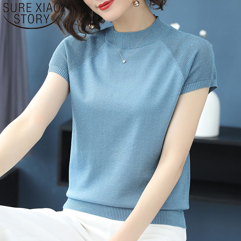 Solid Color Ice Silk Blouse Women Knitted Short Sleeve T-shirt Stand-collar Elegant Base Shirt Summer Thin Short Sleeve 8653 50