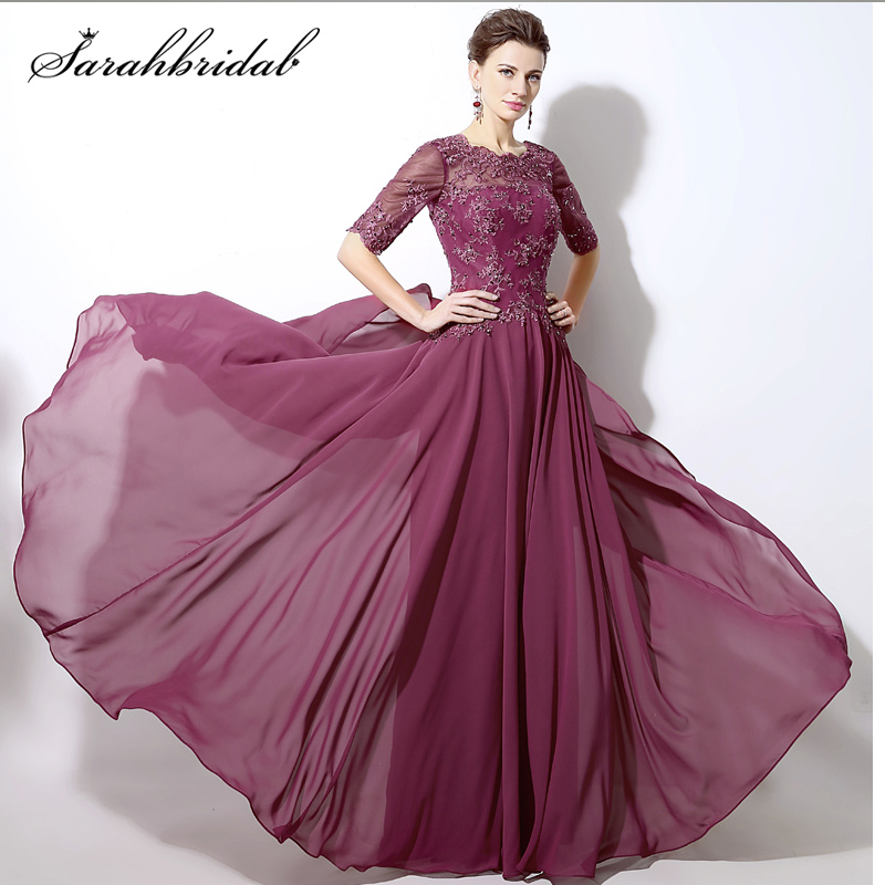 New Half Sleeve Mother Of The Bride Dresses Sheer Beads Sequins Lace Chiffon Mauve Evening Gowns Robe De Soiree Longue SLD321