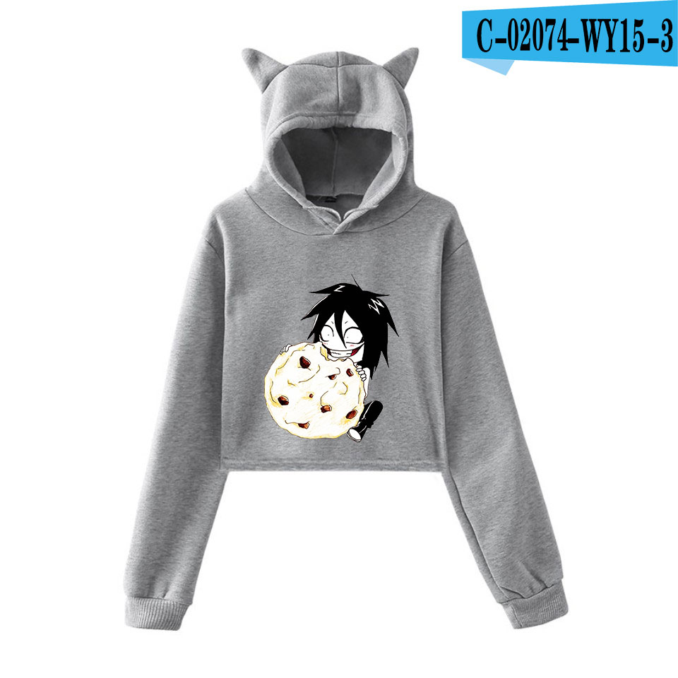 unique horror atmosphere of black humor creepypasta  print fashion trend Cat ears Top Women Hoodies Sweatshirt Sexy clothes 7