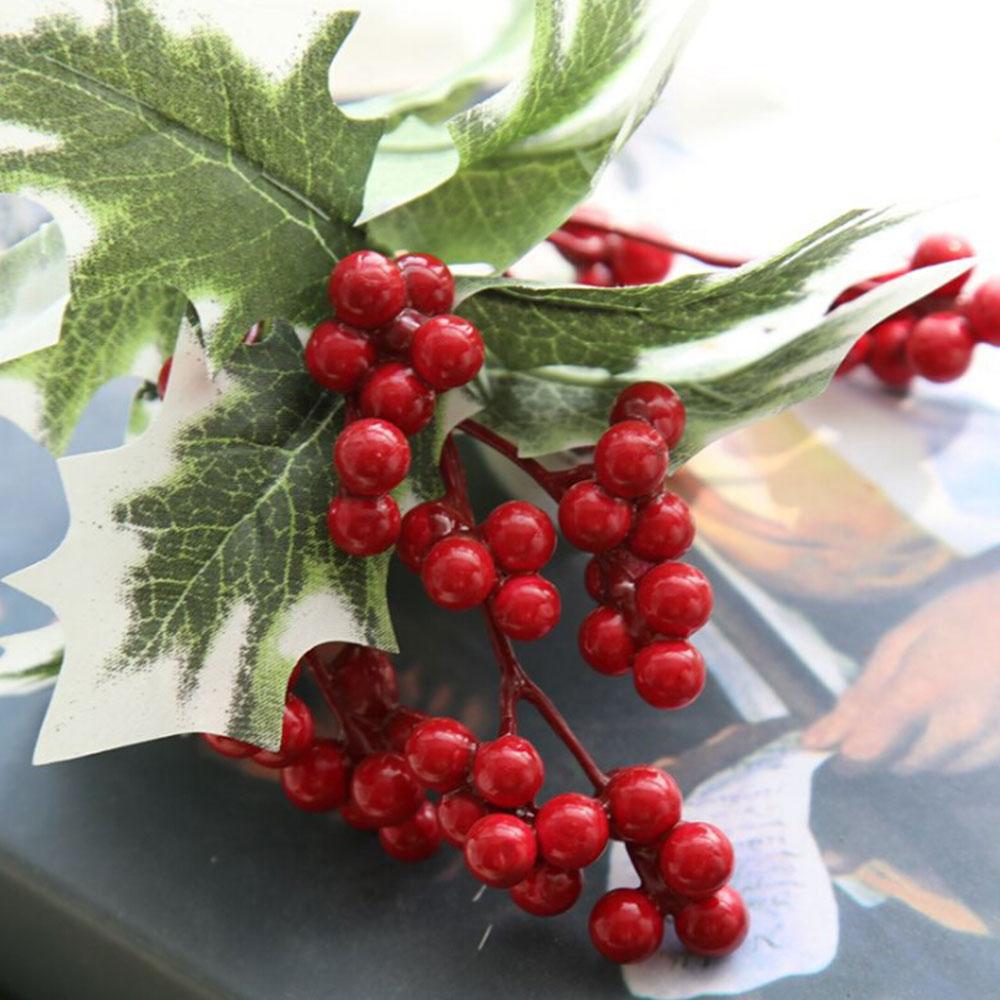 Albero di natale Artificiale Bacca Rossa Frutta Pianta Bacche Fiore Artificiale Rosso Ciliegia Decorativa Di Natale Rami di Fiori - 5