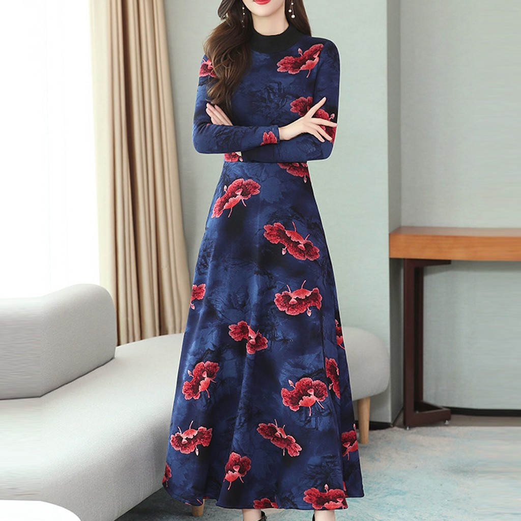 2020 Vintage Floral Print Long Sleeve Maxi Dresses Autumn Winter Plus Size Long Dress Elegant Women Bodycon Party Vestidos#J30