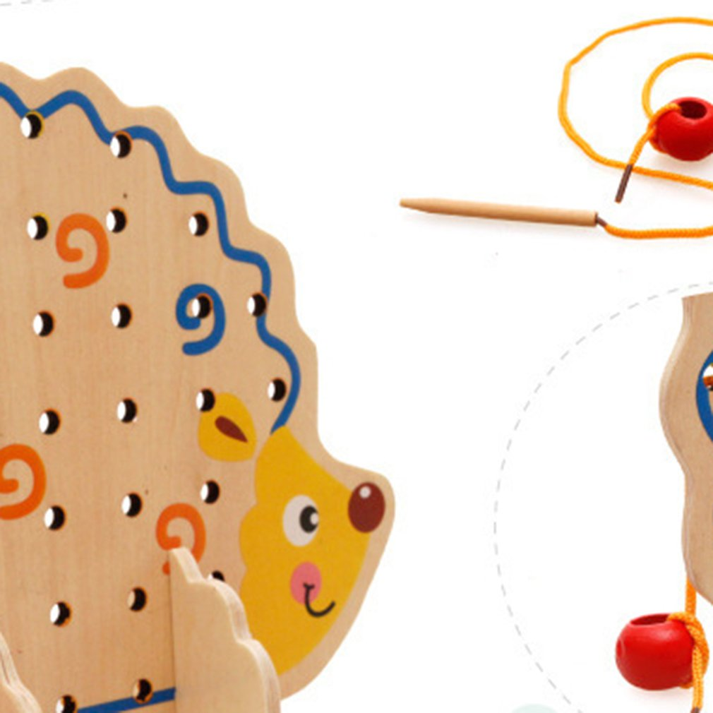 Children'S Educational Early Hedgehog Fruit Beaded Wooden Toy  Multi-Function Bead Threading Toy Building Blocks