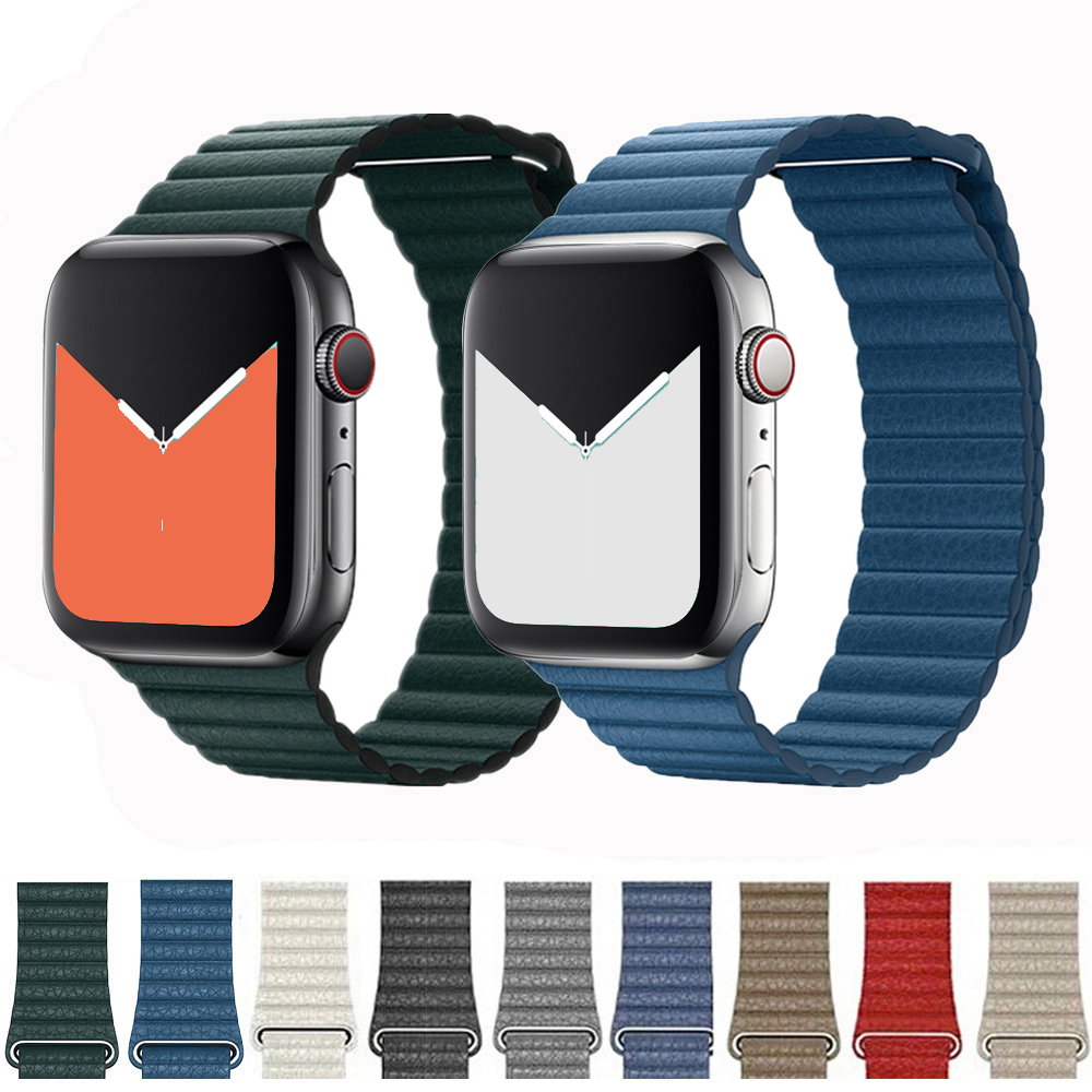 Applewatch-Bands Leather Loop Pulseira-Bracelet 2-Strap 42mm 4-Band Iwatch 3 for 44mm