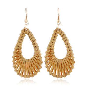 Korean Earrings 2019 Bamboo Wooden Geometric Drop Earrings For Women Hollow Long Dangle Earring Beach Jewelry Party Gift Brincos