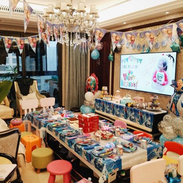 Bevroren Party Blue Stripfiguren Thema Wegwerp Bestek Sets Servetten Papieren Borden Voor Kind Verjaardagslevering Partij Decor