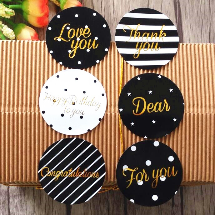 60pcs/pack Black And White Love Congratulation Seal Packaging Sealing Label Kraft Sticker Baking DIY Gift