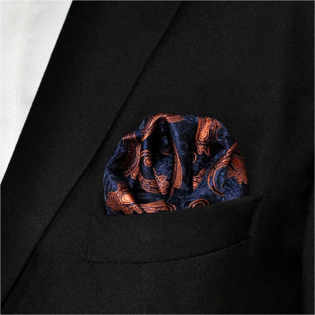 MH25 Mens Pocket Square Paisley Navy Orange Wedding Handkerchief Silk Jacquard Woven Hanky Fashions