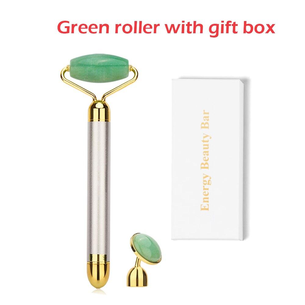 Электрический вибрирующий натуральный розовый кварц нефритовый ролик для подтяжки лица настоящий Настоящий камень зеленый нефрит ролик для лица инструмент для массажа красоты - Color: Green with box