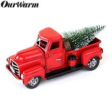 OurWarm Vintage Red Metal Truck with Movable Wheel Kids Holiday Gifts Ornament Table Top Rustic Christmas Decoration for Home