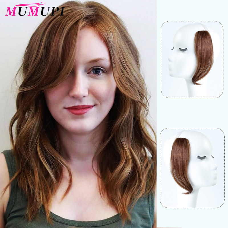 MUMUPI 25-30cm Clip In Bangs On Front Hair Side Fringe Hair Synthetic Hair Bangs Hairpiece Long Bangs Extensions For Women