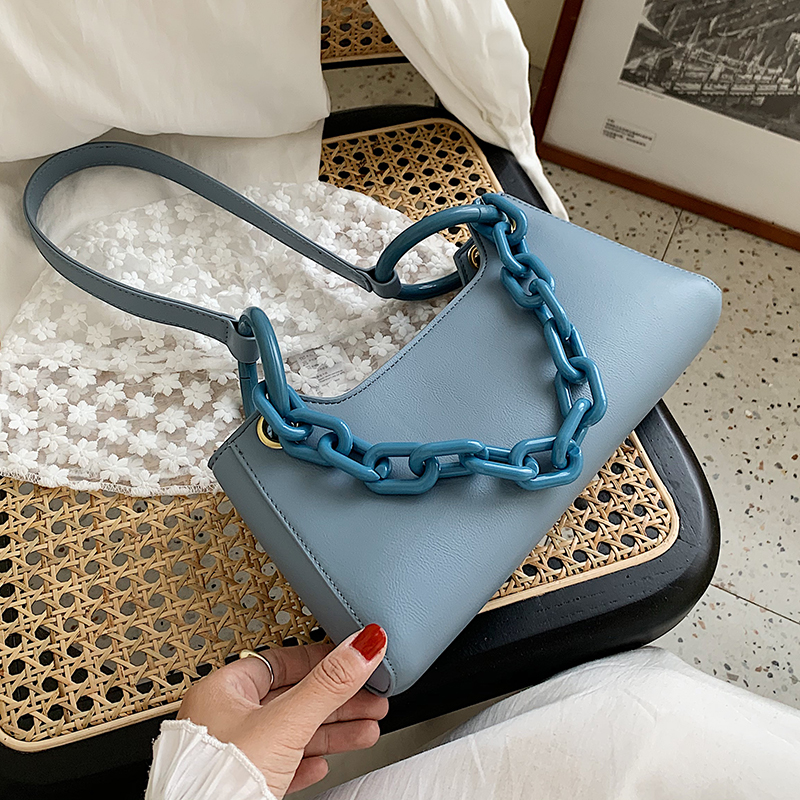 Thick Chain Small PU Leather Crossbody Bags For Women 2020 Summer Simple Solid Color Shoulder Bags Handbags Cross Body Bag