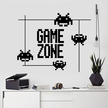 Juego zona pared calcomanía Pixel estilo palabras arte puerta ventana vinilo pegatinas Gamer Teen Boys dormitorio sala de juegos Decoración Para el hogar empapelado E053