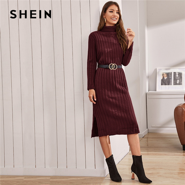 Funnel Neck Solid Ribbed knit Sweater Dress Without Belt Women