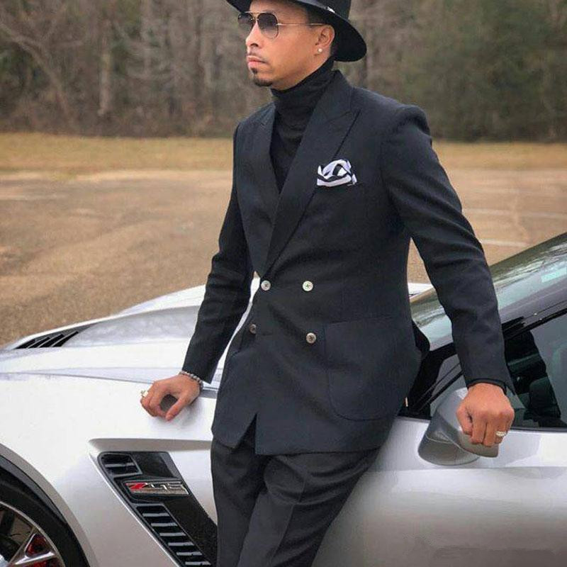 Black Slim Fit Mens Suits Two Pieces Groomsmen Wedding Tuxedos Double Breasted Prom/Party/Business Wears(Jacket+Pant)