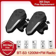 BT-S3 1200 м Мотоциклетный Bluetooth шлем гарнитуры интерком для всадников беспроводной интеркомуникадор интерфон MP3 FM