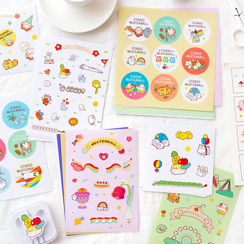 Kawaii Set Stickers Mickey Mouse Paradise Cute Cartoon Hand Account Plane Decoration Stickers Diary Decoration Material