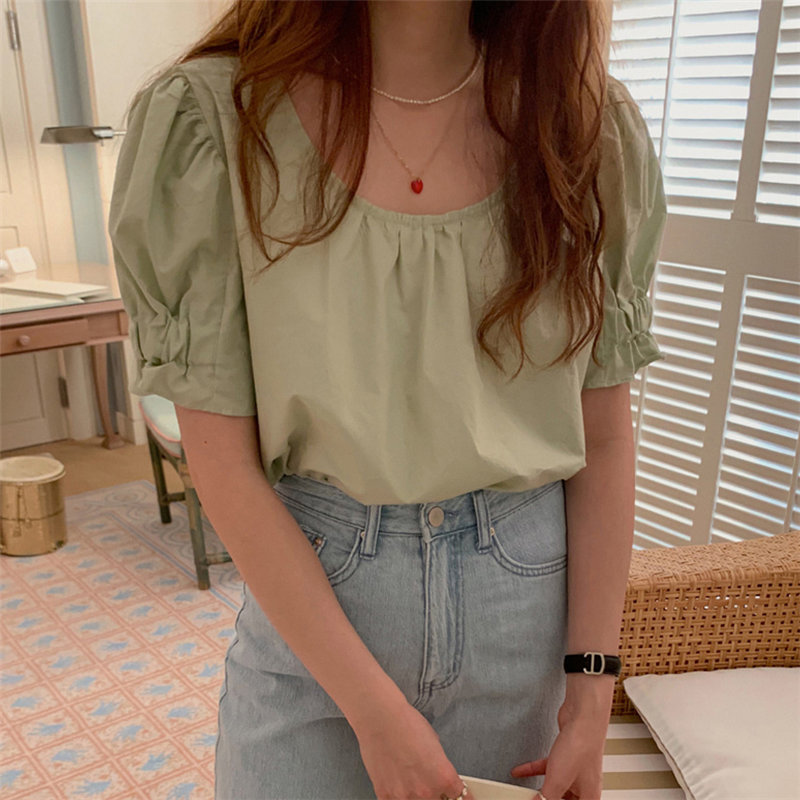 Alien Kitty Grass-green Summer Chic Solid Cotton Leisure 2020 Sweet High Quality Casual Hot Women Loose Short Sleeves Blouses