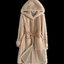 Винтажное пальто из натурального меха женская одежда с капюшоном корейские длинные теплые шерстяные куртки зимние пальто женские Овцы стрижка Hiver YXC0809
