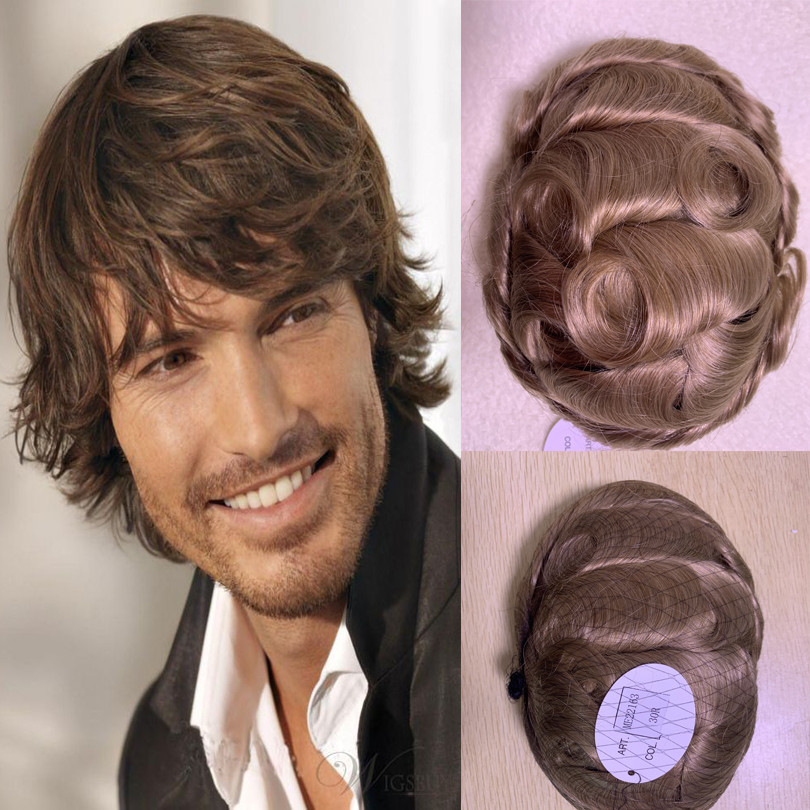 BYMC Chocolate Virgin Hair Topper Real Human Hair Wigs Remy Men's Toupee Hairpieces Brown Colored