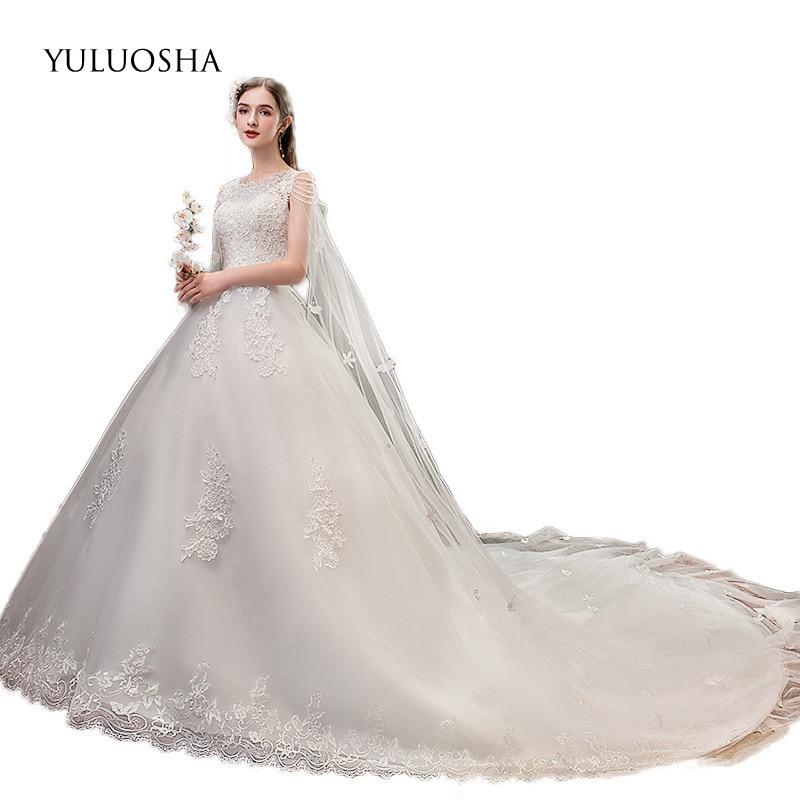 YULUOSHA Wedding Dress Elegant Appliques Lace Sleeveless Court Train Lace Up Bride Dress Vestido De Novia Luxury Wedding Dress