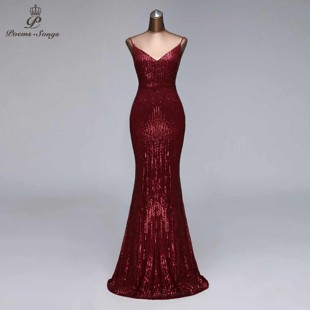 Sexy Avondjurken Lange Robe De Soiree Mouwloze Party Dress Lovertjes  V-hals Avondjurken