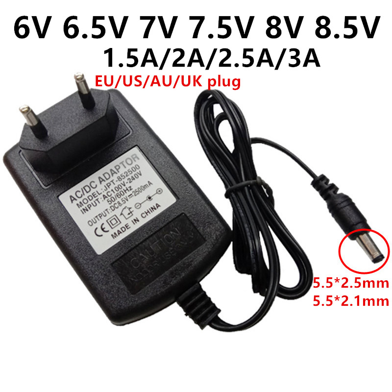<font><b>6V</b></font> 6.5V 7V 7.5V 8V 8.5V universal <font><b>power</b></font> <font><b>adapter</b></font> <font><b>AC</b></font> 110V <font><b>220V</b></font> <font><b>to</b></font> <font><b>DC</b></font> 6 6.5 7 7.5 8 8.5 Volt 1.5A 2A 2.5A 3A <font><b>AC</b></font>/<font><b>DC</b></font> adaptor supply image