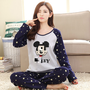 Women Pajamas Female Spring and Autumn Cotton Long Sleeve Two-Piece Suit May Go Out Ladies Casual Suit Striped Shirt