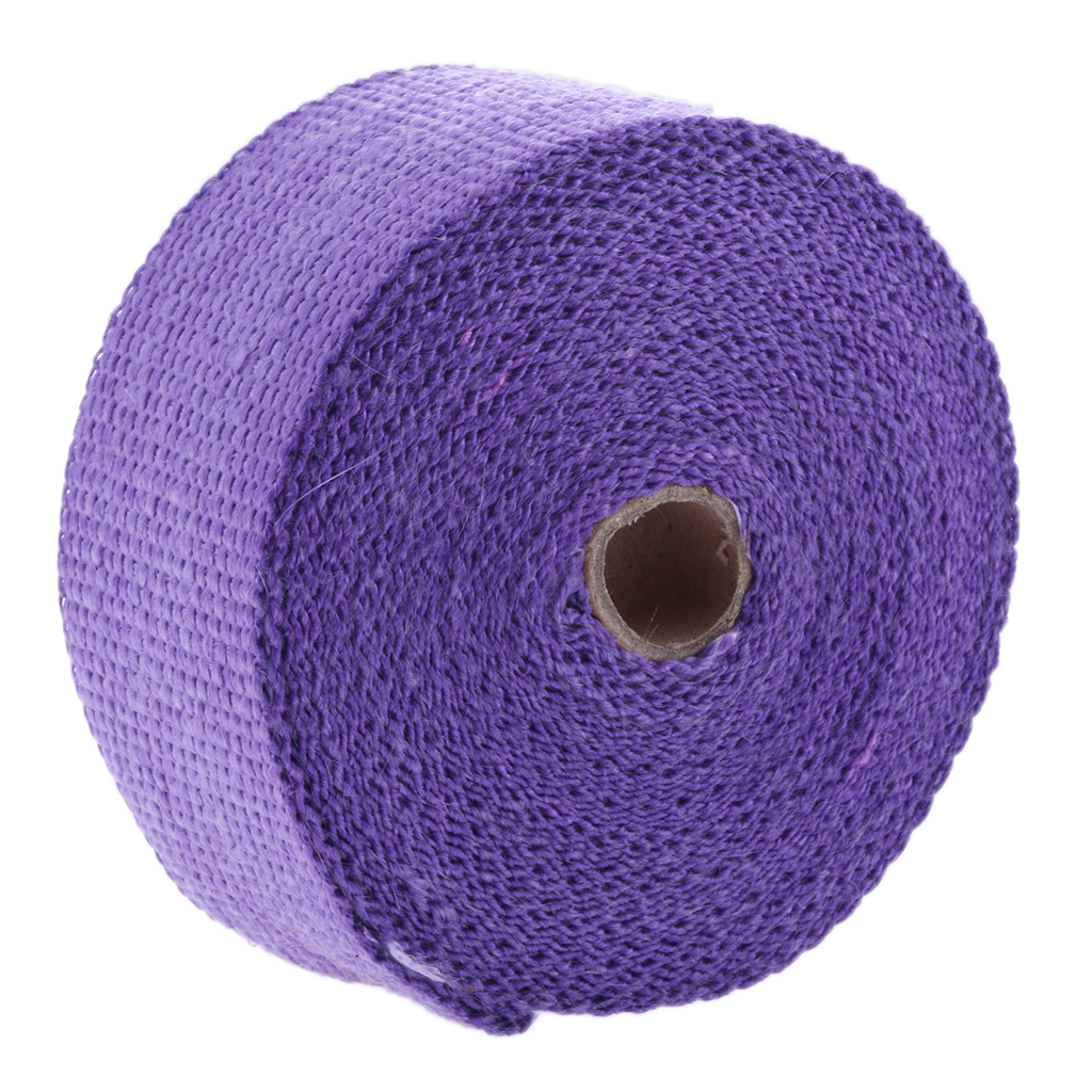 purple 2 x 16 Purple Exhaust Heat Wrap Roll for Motorcycle Fiberglass Heat Shield Tape with Stainless Ties