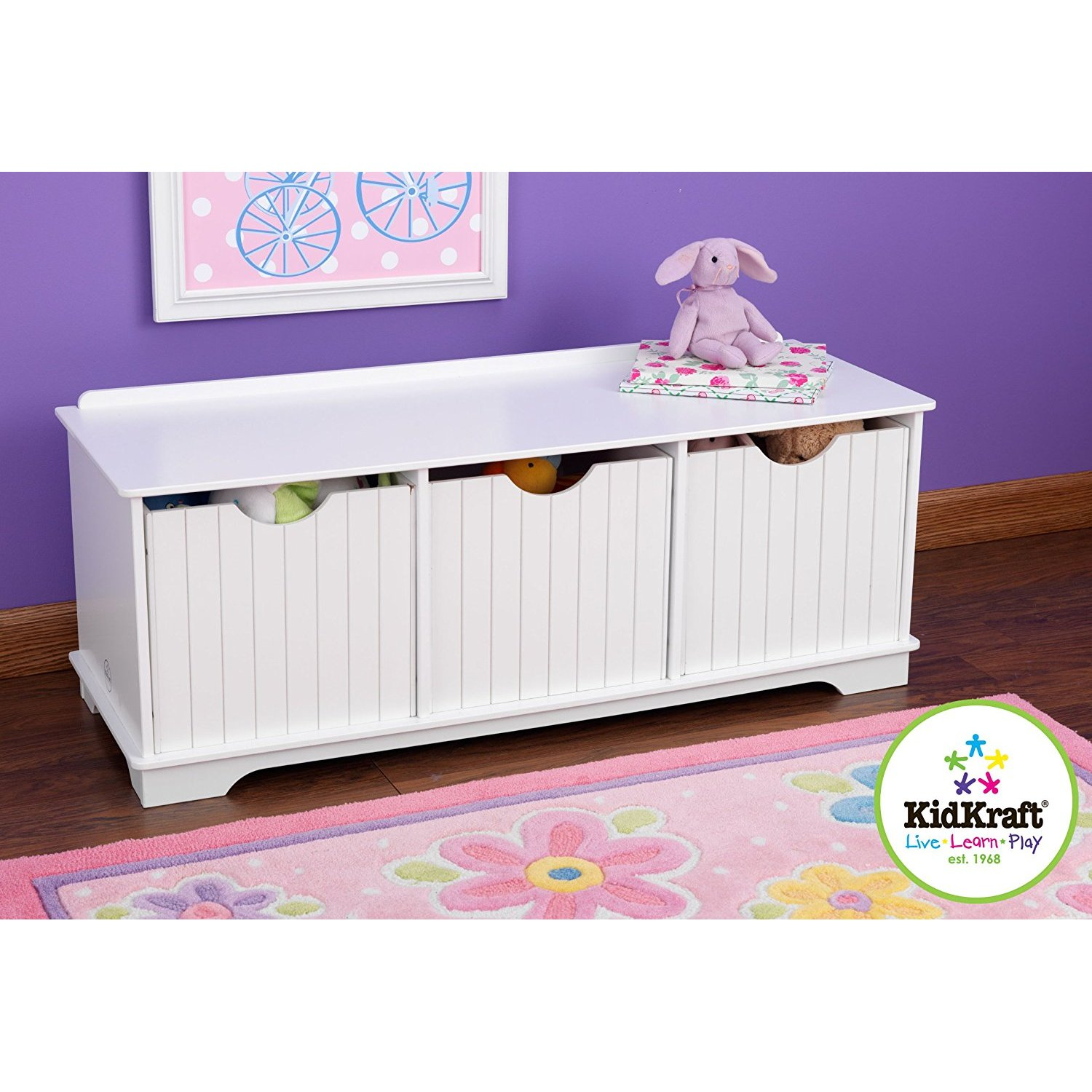 Children Cabinets KidKraft  Bench With Drawers For Storage, White Children's Furniture For Kids Toy Rack Storage System Toy Box Dresser Toy Cabinet
