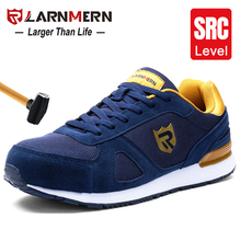 LARNMERN erkek çelik ayak iş güvenliği ayakkabıları hafif nefes Anti smashing kaymaz yansıtıcı Sneaker