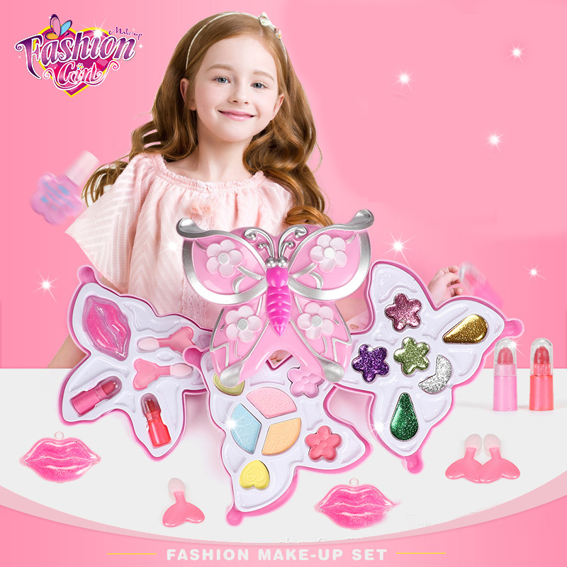 Girls Beauty Make Up Toys Fashion Pink Beauty Set Pretend Play Make Up Kit For Girls Princess Dress Baby Cosmetic Toys Gifts