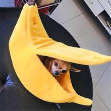 Pequeno animal de estimação cama forma de banana macio macio macio macio macio macio macio macio cama banana gato cama grande cesta pano confortável pet nest # w