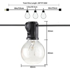 Image 4 - 25Ft G40 Bulb Waterproof String Lights with 25 Clear Bulb Backyard Patio Lights Vintage Bulbs Decorative Outdoor Garland Wedding