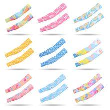 Детские летние защитные перчатки с защитой от ультрафиолета, ледяной шелк, охлаждающие рукава, милые защитные перчатки с мультяшными рыбками, звездами, животными, красочным принтом