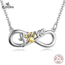 Eudora Infinite knot Pendant Dog & Cat Paw Silver Choker Necklace for Women 925 Sterling Silver Cat Pet Footprint Necklaces D181